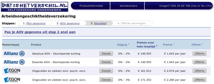 Kosten van een arbeidsongeschiktheidsverzekering (AOV) vergelijken en berekenen op Datishetverschil.nl
